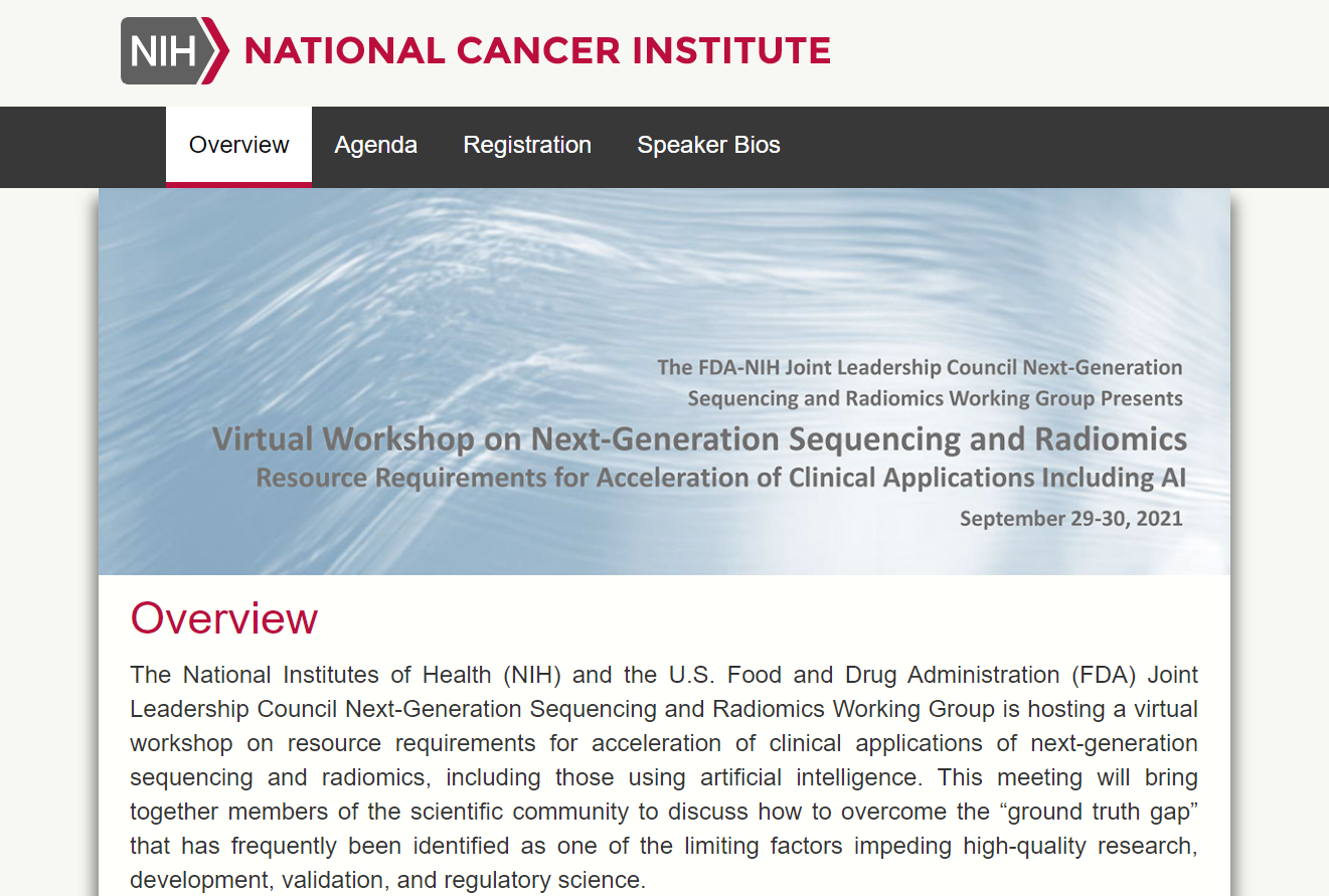 Virtual Workshop on Next-Generation Sequencing and Radiomics