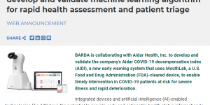 BARDA partners with Aidar Health, Inc. to develop and validate machine learning algorithm for rapid health assessment and patient triage