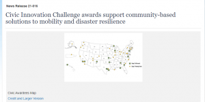 Civic Innovation Challenge awards support community-based solutions to mobility and disaster resilience