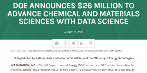 DOE Announces $26 Million to Advance Chemical and Materials Sciences with Data Science