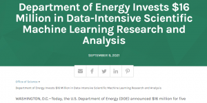 Department of Energy Invests $16 Million in Data-Intensive Scientific Machine Learning Research and Analysis