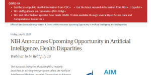 NIH Announces Upcoming Opportunity in Artificial Intelligence, Health Disparities