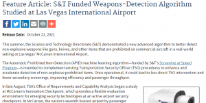 S&T Funded Weapons-Detection Algorithm Studied at Las Vegas International Airport