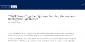 TITAN Brings Together Systems For Next Generation Intelligence Capabilities