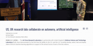 US, UK research labs collaborate on autonomy, artificial intelligence
