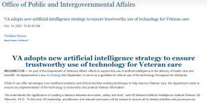 VA adopts new artificial intelligence strategy to ensure trustworthy use of technology for Veteran care