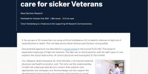 VA doctors seek to harness artificial intelligence to target care for sicker Veterans